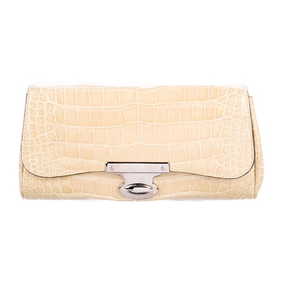 Marc Jacobs Handbags - Marc Jacobs Alligator Skin beige foldover Clutch